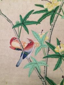 detail van het prachtige Chinese behang  in het landhuis